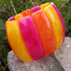 Chunky Vtg Neon Swirled Lucite Stretch Bracelet
